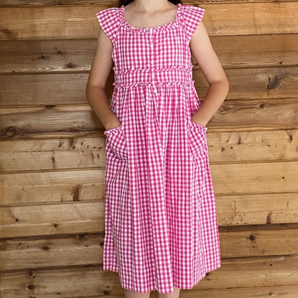 Strasburg Pink & White Gingham Print Dress